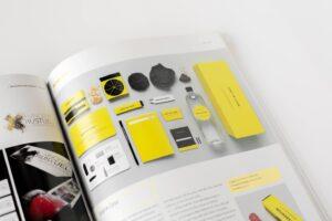 design editoriale per una linea di packaging di colore giallo pubblicata su una rivista cartacea